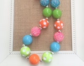 Girls Chunky Necklaces, Colorful Chunky Necklace, Toddler Necklace, Summer Jewelry, Bubblegum Necklace, Bright Colored Necklace, Photo Prop