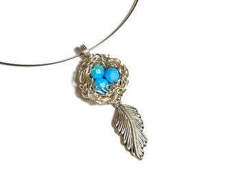 Silver Robins Birds Nest Necklace, Boho Pendant with Feather, Silver,  Mothers Day Gift