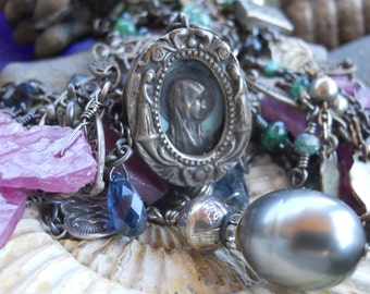 Beyond the Blue     Antique French Theca Locket Gemstone Assemblage Necklace