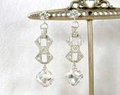 1920s Art Deco Dangle Earrings Clear Paste Rhinestone Silver Drop Earrings, Vintage Long Bridal Statement Earrings Gatsby Flapper Jewelry