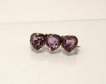 Charles Horner Amethyst Heart Pin Sterling Silver Antique Brooch British Hallmarks Purple Valentine's Day Gift