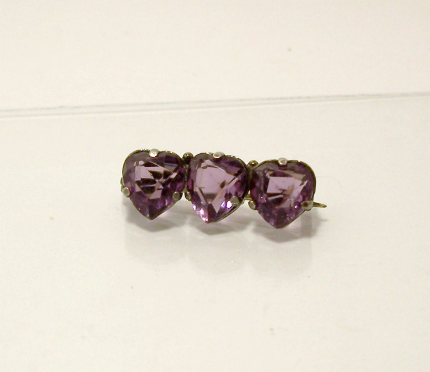 Charles Horner Amethyst Heart Pin Sterling Silver Antique