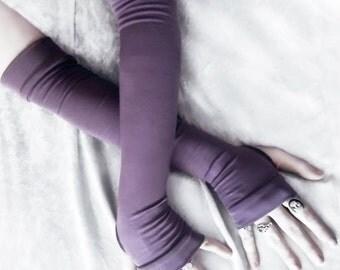 Twilight Shade Arm Warmers - Dusky Plum Purple Bamboo Cotton - Gothic Yoga Belly Dance Dark Tribal Running Cycling Boho Goth Vampire Light