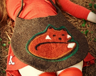 OOAK Fox Bag. Wet Felted Bag. Large Handmade Felt Tote. Ready to Ship.