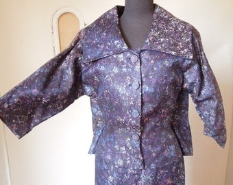 Vintage 60's Dress and Jacket Set, Purple or Indigo Brocade, Wiggle Dress, Cocktail Dress, Size Small