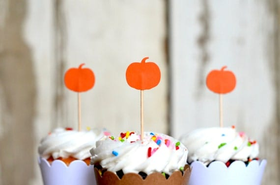 Pumpkin Cupcake Toppers - 12 picks
