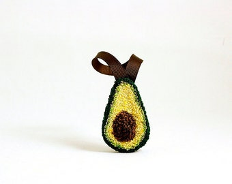 Ready to Ship! Avocado Christmas Ornament. Punchneedle. Food Art. Dark Green, Light Green, Brown Ribbon.