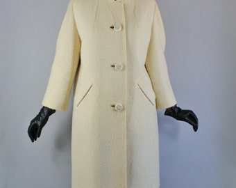 Vintage 1950s 50s Women's Ecru Cream Boucle Wool Fall Winter Rhinestone Button Formal Dress Coat// Winter Wedding Coat