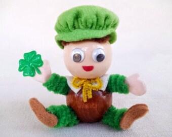 Cute Vintage St. Patricks Day Handmade Doll Figurine, Baby Leprechaun with  Four Leaf Clover Shamrock, Vintage St. Patrick's Day Decoration