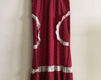vintage ruffled maxi dress red white hawaii small