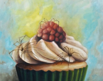 Spider and Cupcake Digital Print of Original painting