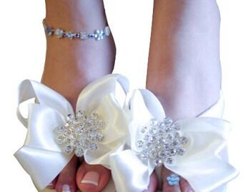 Ivory White Bridal Flip Flops -Wedding Wedge Flip Flops with Heel or Flat - Jewel Rhinestone Bow for the Bride - platform bridesmaids Bling