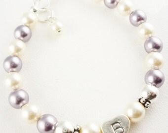 Mauve purple & ivory cream flower girl bracelet - sterling silver- choose swarovski pearl colors