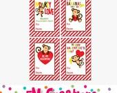 Printable Monkey Valentines Day Card - School Valentines Day Card - Valentines Day Printables -  Digital Monkey Boy Girl Valentines Card