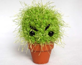 Angry Cactus crocheted plushie with clay pot