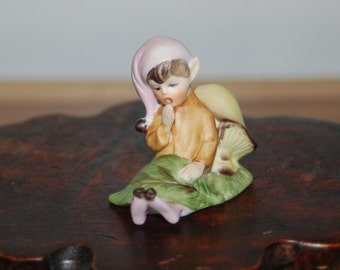 Josef Originals Porcelain Bisque Pixie / Elf Laying Down to Sleep with a Mushroom Pillow ~ Excellent Condition ~ 11 of 13