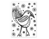 Coloring Book Page Instant Digital Download - hand drawn folk art funky bird - black and white drawing art print by Jessica Torrant pg 4