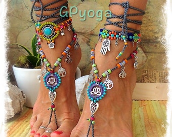 HAPPY Lotus BAREFOOT sandals foot jewelry Tree Lotus Sun symbol Love Mojo beaded Crochet toe ankle wrap sandal Yoga Garden wedding GPyoga