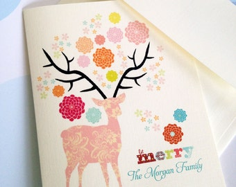 Personalized Christmas Card, Custom Holiday Card, Personalized Holiday Card, Set of 10, Reindeer Cards