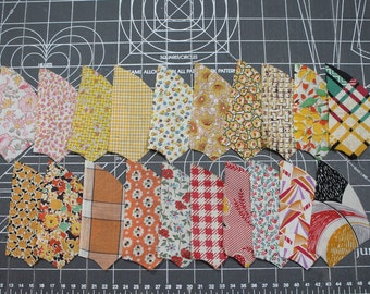 1920-1930 Quilt Pieces Fabric Yellow Orange - UNUSED Percale and Feedsack -Novelty Quilting Pieces - Fan/Pinwheel - 73 Pieces