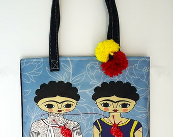 Frida Kahlo bag, original illustration, Frida Kahlo art, denim bag, Frida Kahlo poster, Frida Illustration, Frida bag, handbag