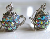 Tiny Teapot Earrings with AB Rhinestones on Sterling Silver Ear Hooks