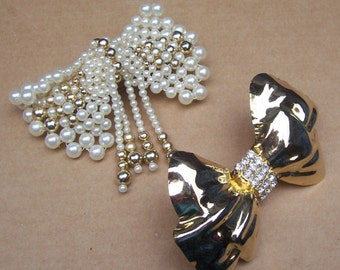 Two glitzy 1980s hair barrettes hair bows hair slide hair clip hair ornament hair jewelry celluloid faux pearl