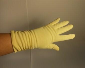 Lemon Drop Faire - Vintage  1950s Bright Lemon Over Wrist Arm Ruched Gloves - 6.5