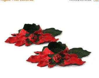 On Sale Cast Iron Candle Holder, Vintage Poinsettia Candleholder, Christmas Decor, Holiday Decor, Set of Two