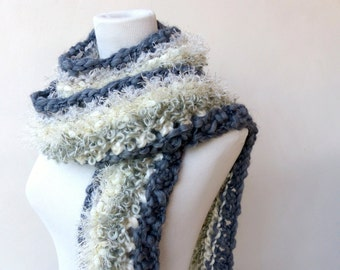 Grey knit scarf Chunky grey and cream scarf Unique hand knitted scarves