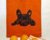 Dog Block Printed Canvas Tote - French Bulldog Lab or Boston Dog Block Printed Canvas Tote