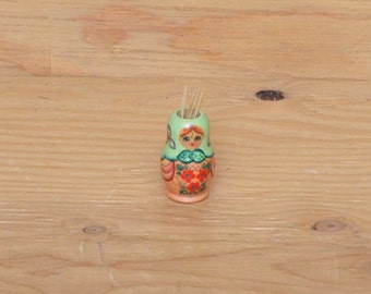 Vintage Czech Wooden Hand Painted Doll Image On Tooth Pick Holder
