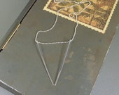 Reena. Long Silver Triangle Necklace. 16k white gold plated. modern. delicate. geometric. layering. gift for her.