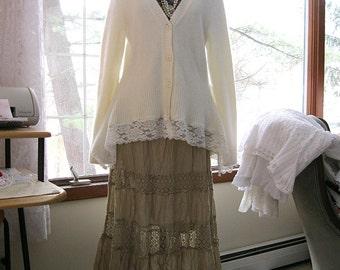 Romantic lace sweater, Large, angora blend winter white cardigan, sweater tunic, reconstructed sweater, boho tunic, OOAK, by Lily Whitepad