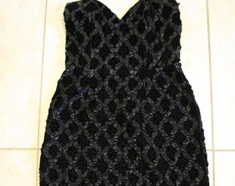 Black Velvet Bodycon Dress / Sexy Strapless Party Dress