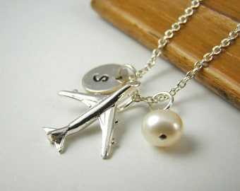 Personalized Airplane Necklace, Sterling Silver,  Pilot Gift, Flight Attendant Gift, Love to Fly, Travel
