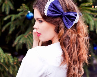 Navy Blue Velvet Hair Bow