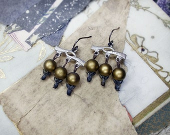 Rustic Assemblage Earrings - Short Chandeliers - Vintage Connectors - Shiny Gold - Dark Metallic Gold Plastic Rounds - Fancy Bead Caps