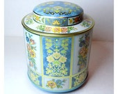 Floral Tin Container, Tall Daher Blue & Pink Romantic Storage Box, Made in England, Round Tea Tin