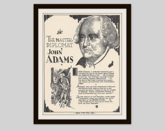 John Adams, Vintage Art Print, Historical Figure, Founding Father, American History, Revolutionary War, US President, Political History
