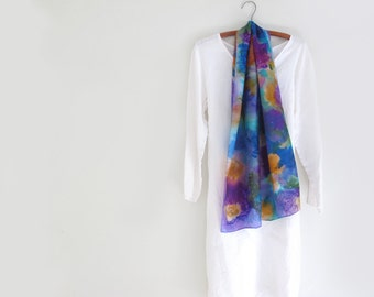 Silk Scarf Hand-Painted in Amethyst Purple , Turquoise,  Golden yellow