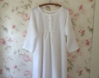 Washable Linen Night Dress Romantic White Linen Washed Linen Night Gown Dress 50 Bust