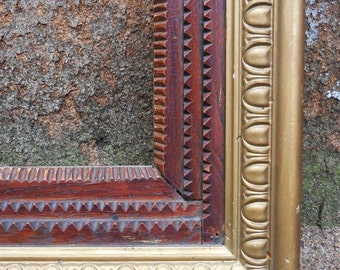 Antique Tramp art Frame Architectural Large chunky picture art framing hand carved wood