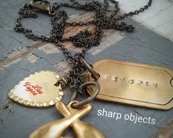 Kingpin - stamped dog tag, retro Las Vegas charm & bowling league metalwork charm, custom chain necklace