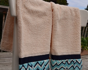 Blue and White Chevron print with tan light beige towels set of 2 kitchen tea dish hand guest towel