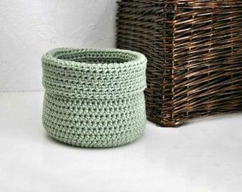 Sage Green Basket Catchall Storage Bin Modern Decor Contemporary Design