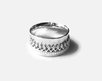 Sterling silver spinner ring worry ring spinning ring crown ring anxiety ring fidget ring wide band ring sterling silver ring for her