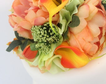 Wedding Cake Topper - Coral Peony, Green Hydrangea, Yellow Calla Lily Wedding Cake Topper, Wedding Cake Flowers, Fake Flower Topper