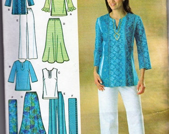Easy Sewing Pattern Skirt, Pants, Tunic, Scarf Sizes 8 - 18 Simplicity 4149