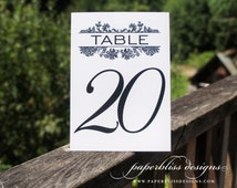 Vintage damask wedding table numbers | 3.5x5, 4x6, 5x5 or 5x7 printed cards | custom table cards, metallic shimmer, custom table numbers